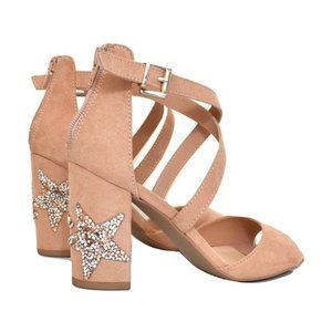 Quipid Blush Pink Rhinestone Star Sandal Heels